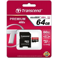 Transcend micro-sd 64Gb (адаптер) /класс 10/ Карта памяти