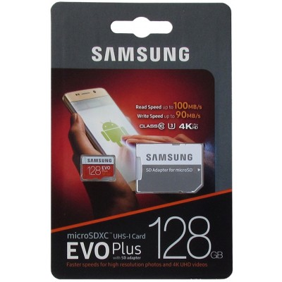 Samsung EVO PLUS 2 micro-sd 128Gb (адаптер) /класс 10/ Карта памяти