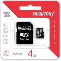 Smart Buy micro-sd 4Gb (адаптер) Карта памяти